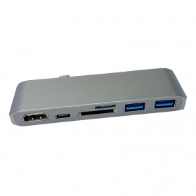 CHIPAL USB Hub 6 in 1 USB Type C with HDMI 4K & Card Reader - T62 - Gray - 2