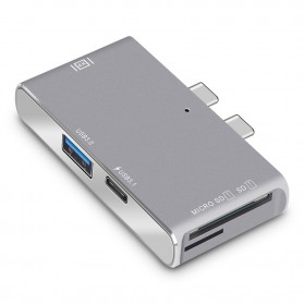 USB Hub Docking 5 in 1 USB Type C with HDMI 4K & Card Reader - Gray