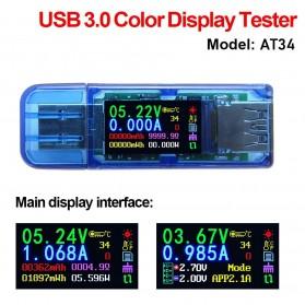 Rui Deng AT34 Voltmeter Ammeter Voltage Current USB 3.0 Meter