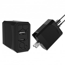 Travel PD Charger Smartphone USB Type C 2 Port 3.1A - RK-C002 - Black