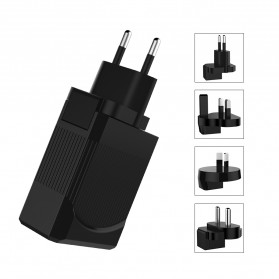 Travel PD Charger Smartphone USB Type C 2 Port 3.1A - RK-C002 - Black - 3