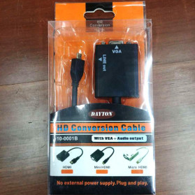 HD Conversion Cable Micro HDMI to VGA with Audio Output - HD009 - Black - 3