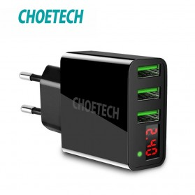 USB Charger, Car Charger, Charging Dock - CHOETECH Charger USB 3 Port 3A with LED Display - C0027 - Black