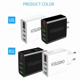CHOETECH Charger USB 3 Port 3A with LED Display - C0027 - Black - 2