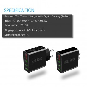 CHOETECH Charger USB 3 Port 3A with LED Display - C0027 - Black - 4