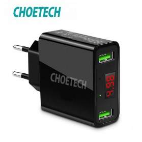 CHOETECH Charger USB 2 Port 2.2A with LED Display - C0028 - Black
