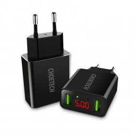 CHOETECH Charger USB 2 Port 2.2A with LED Display - C0028 - Black - 2