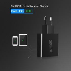 CHOETECH Charger USB 2 Port 2.2A with LED Display - C0028 - Black - 5