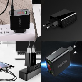 CHOETECH Charger USB 2 Port 2.2A with LED Display - C0028 - Black - 9