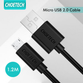 CHOETECH Kabel Charger Micro USB Fast Charging 2.4A 1.2 Meter - AB003 - Black