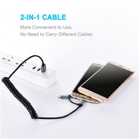Choetech Kabel Charger 2 in 1 Micro USB + USB Type C Spring Cable 3A - XAC-0012-101 - Black - 2