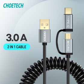 Choetech Kabel Charger 2 in 1 Micro USB + USB Type C Spring Cable 3A - XAC-0012-101 - Black - 4