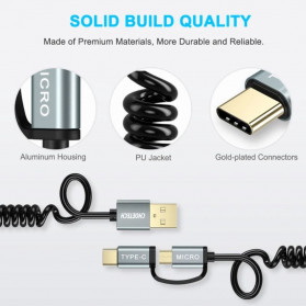 Choetech Kabel Charger 2 in 1 Micro USB + USB Type C Spring Cable 3A - XAC-0012-101 - Black - 5