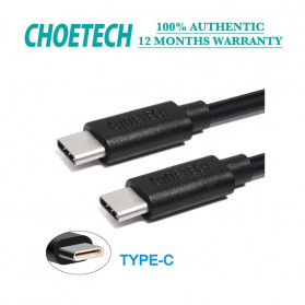CHOETECH Kabel Charger USB Type C to Type C 1 Meter - CC0002 - Black - 3