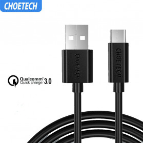 CHOETECH Kabel Charger USB Type C Hi Speed 3A 1 Meter - AC0002 - Black