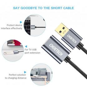 CHOETECH Kabel Extension USB 3.0 2 Meter - XAA001 - Silver - 3