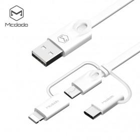 MCDODO 3 in 1 Kabel Charger Micro USB+Lightning+Type-C 1 Meter - White