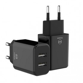 MCDODO Charger USB 2 Port 2.4A  EU Plug - CH-6141 - Black