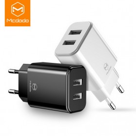 MCDODO Charger USB 2 Port 2.4A  EU Plug - CH-6141 - Black - 2