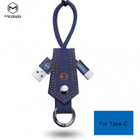 MCDODO Kabel Charger USB Type C Knitted Denim Keychain - CA-074 - Blue
