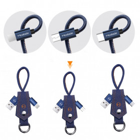 MCDODO Kabel Charger USB Type C Knitted Denim Keychain - CA-074 - Blue - 5