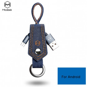 MCDODO Kabel Charger Micro USB Knitted Denim Keychain - CA-074 - Blue