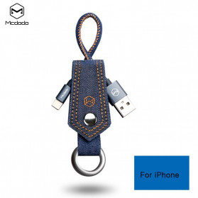 MCDODO Kabel Charger Lightning Knitted Denim Keychain - CA-074 - Blue