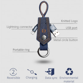 MCDODO Kabel Charger Lightning Knitted Denim Keychain - CA-074 - Blue - 3