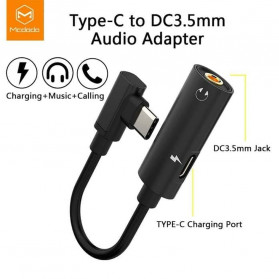 MCDODO Adapter 3 in 1 USB Type C to AUX 3.5mm + USB Type C - Black