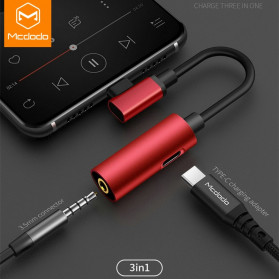 MCDODO Adapter 3 in 1 USB Type C to AUX 3.5mm + USB Type C - Black - 3