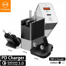 MCDODO Travel Charger 2 Port QC3 USB Type C PD with EU US UK Plug - JY-350 - Black - 1