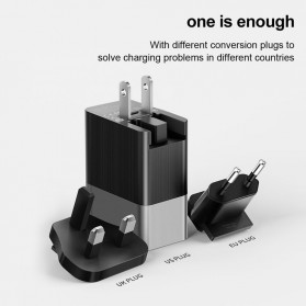 MCDODO Travel Charger 2 Port QC3 USB Type C PD with EU US UK Plug - JY-350 - Black - 2