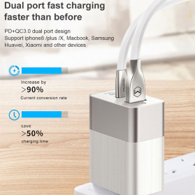 MCDODO Travel Charger 2 Port QC3 USB Type C PD with EU US UK Plug - JY-350 - Black - 4