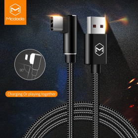 MCDODO Kabel Charger USB Type C Braided L Shape 2 Meter 5A - CA-3453 - Black