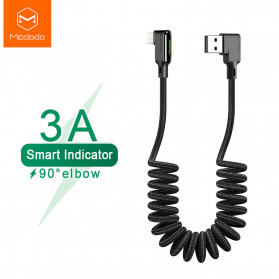 MCDODO Kabel Charger Lightning Cable Spring L Shape 1.8 Meter - CA-7300 - Black
