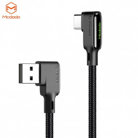 MCDODO Kabel Charger USB Type C Braided L Shape 3A 1.8 Meter - CA-7521 - Black