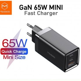 MCDODO GaN Charger USB Type C QC4 PD 3 Port 65W - CA-792 - Black