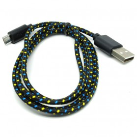 Taffware Pure Color Braided Charging SYNC Data Micro USB Cable 1m - Black