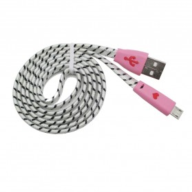 Taff Pure Color Braided Charging SYNC Data Micro USB Cable 1m - White