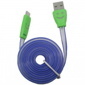 Taff Colorful Smiling Face Charging SYNC Data Micro USB Cable 1m - Green