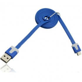 Taff Flat Noodle Charging SYNC Data Micro USB Cable 1m - Blue