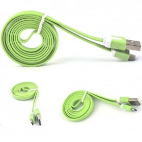 Taffware Flat Noodle Charging SYNC Data Micro USB Cable 1m - Green