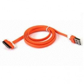 Taffware Flat Noodle Charging SYNC Data Cable for iPhone 4/4s 1m - Orange
