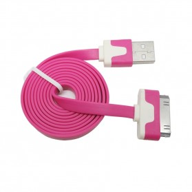 Taffware Flat Noodle Charging SYNC Data Cable for iPhone 4/4s 1m - Rose
