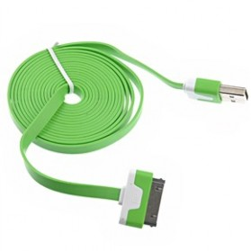 Taffware Flat Noodle Charging SYNC Data Cable for iPhone 4/4s 1m - Green