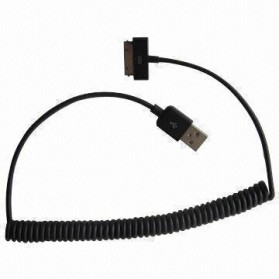 Taff Spring Charging SYNC Data Cable for iPhone 4/4s 1m - Black
