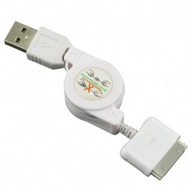 Taff Retractable Charging SYNC Data Cable for iPhone 4/4s 80Cm - White