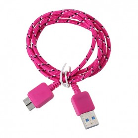 Taffware Kabel Data USB A ke Micro B USB 3.0 Braided - Pink - 1