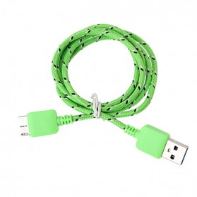 Taffware Kabel Data USB A ke Micro B USB 3.0 Braided - Green