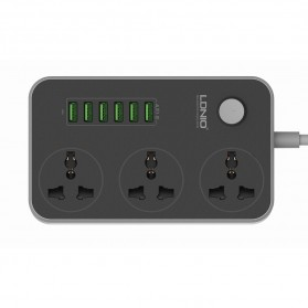 LDNIO Stop Kontak 3 Socket with USB Charger 6 Port 10A - SC3604 - Black